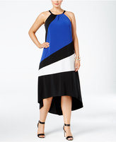INC International Concepts Plus Size Colorblocked High-Low Dress, Only at Macy's