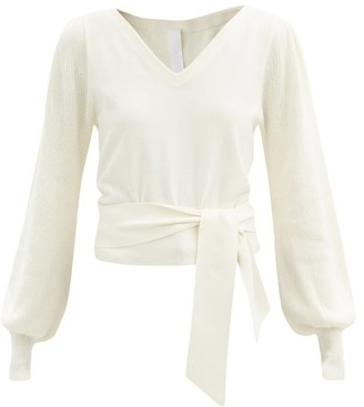 Merlette New York Phillimore Puff-sleeve Cotton-blend Sweater - Ivory