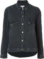 The Great pinstriped denim jacket