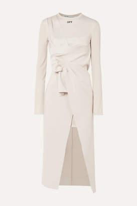 Off-White Off White Asymmetric Stretch-jersey Midi Dress - Beige