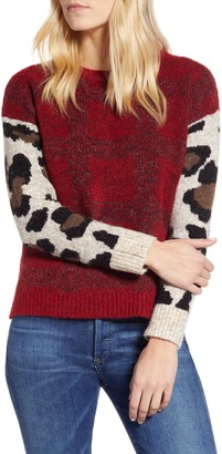 RD Style Leopard Sleeve Sweater