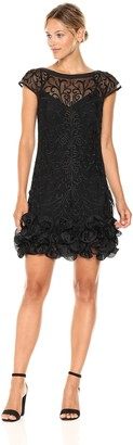 GUESS Women's Short Sleeve Cocktail Dress with Lace Overlay