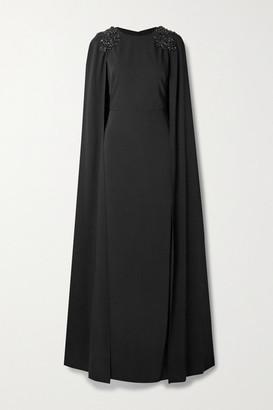 Marchesa Notte Cape-effect Embellished Crepe Gown - Black