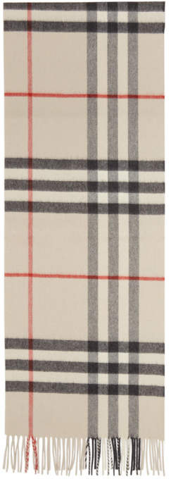 Burberry Grey Cashmere Classic Check Scarf