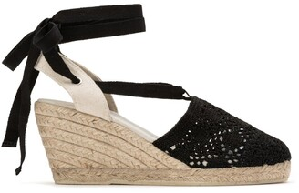 La Redoute Collections Crochet Tie Ankle Espadrilles with Wedge Heel
