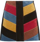 MiH Jeans Chevron Patchwork Suede Mini Skirt - Black