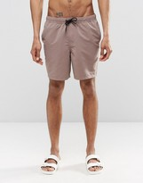 Asos Swim Shorts In Brown Mid Length