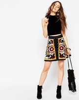Asos Embroidered Mini Skirt with Lace Up Front