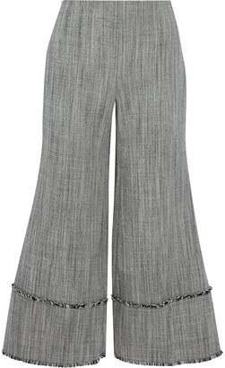 Zimmermann Folly Sovereign Frayed Wool-tweed Kick-flare Pants