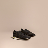 Burberry The Field Sneaker In Suede And Camouflage Mesh