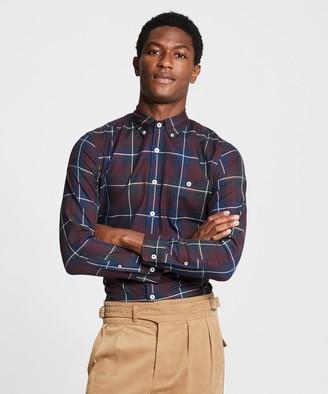 Todd Snyder Italian Navy Burgundy Plaid Flannel Shirt