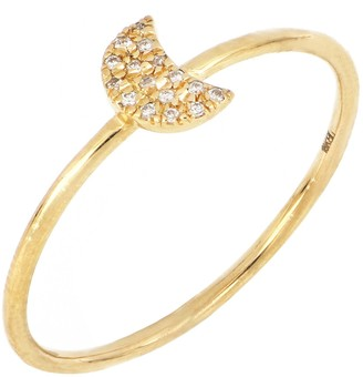 Bony Levy 18K Gold Diamond Pave Crescent Moon Ring - Size 7 - 0.06 ctw