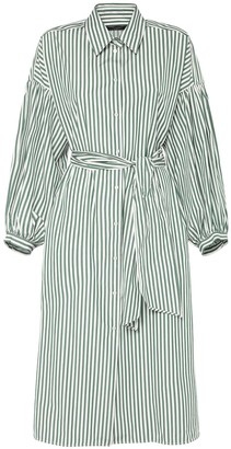 Max Mara Striped Cotton Poplin Shirt Dress