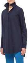 Akris Punto Oversized Cotton Tunic Blouse, Navy