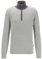 HUGO BOSS - Quarter Zip Sweater In Cotton And Virgin Wool - Open Grey