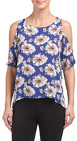 Juniors Cold Shoulder Printed Woven Top