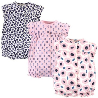 Touched by Nature Baby Girl Button Up Cotton Rompers, 3-Pack