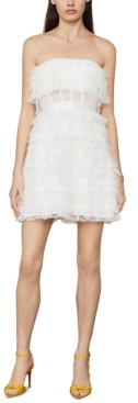 BCBGMAXAZRIA Strapless Ruffled Tulle Mini Dress