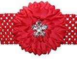 WD2U Baby Girls' Large Silk Dahlia Rhinestone Flower Bow Headband Red (120)
