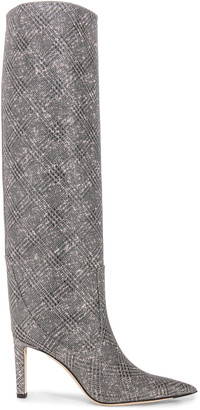 Jimmy Choo Mavis 85 Glitter Boots in Silver | FWRD