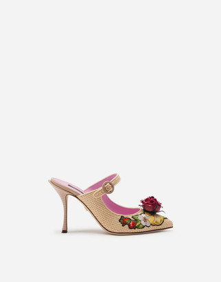 Dolce & Gabbana Braided Raffia Mules With Floral Embroidery