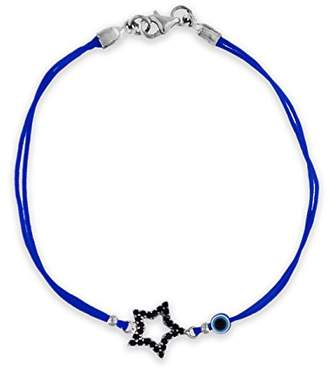 Tuscany Silver Women's Sterling Silver Black Cubic Zirconia 10.8 x 11.7 mm Star and Bead Blue Cord Bracelet of Length 18 cm/7 Inch