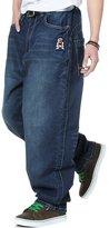 QBO Men's Loose Jeans Hip Hop Baggy Denim Pants