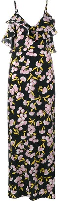 Marni Floral Print Silk Long Dress