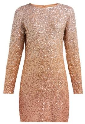 Ashish Long-sleeved Sequinned Mini Dress - Beige
