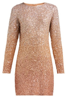 Ashish Long-sleeved Sequinned Mini Dress - Womens - Beige