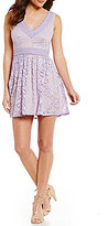 B. Darlin Ric Rac Trim Sleeveless Lace Skater Dress