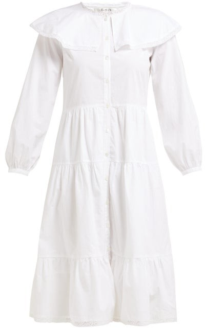 Sea Lace Trim Ruffled Cotton Dress - Womens - White