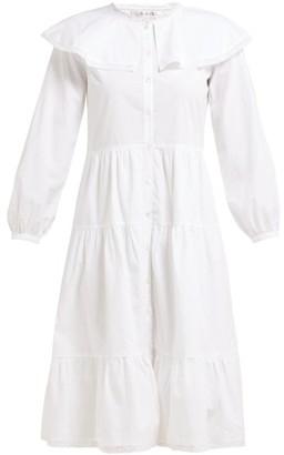 Sea Lace-trim Ruffled Cotton Dress - White