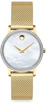 Movado Yellow Goldplated, Pave Diamond Stainless Steel & Mother-Of-Pearl Mesh Strap Watch