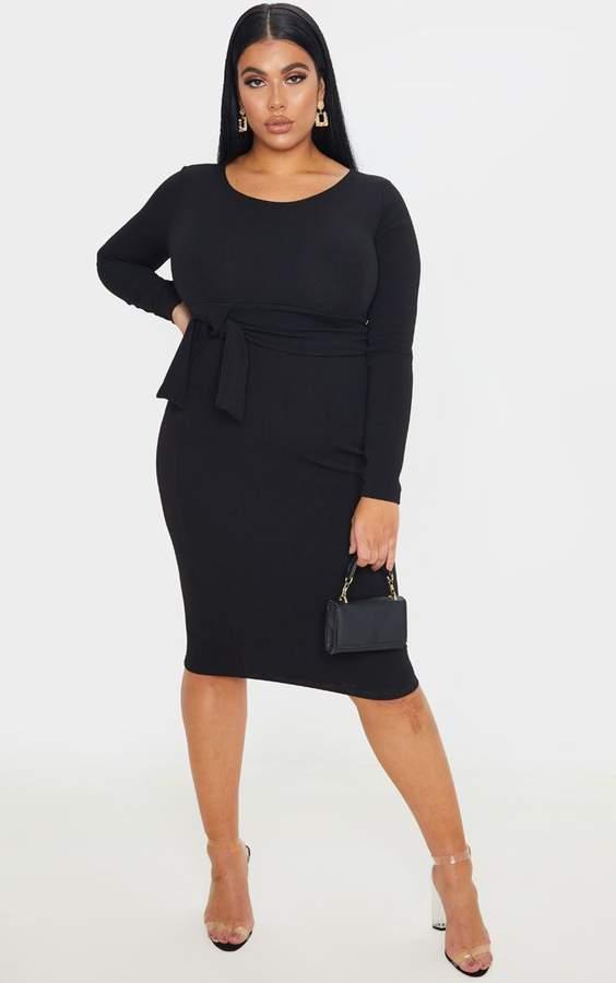 PrettyLittleThing Plus Black Long Sleeve Wrap Waist Midi Dress