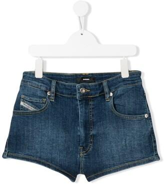 Diesel TEEN high-waisted denim shorts