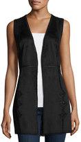 Neiman Marcus Whipstitch Faux-Suede Vest, Black