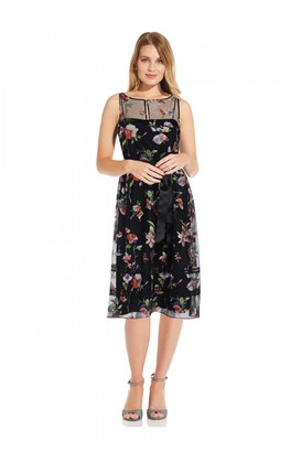 Adrianna Papell Floral Embroidered Dress In Black Multi