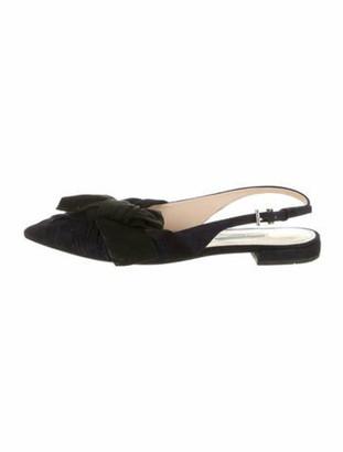 Prada Suede Bow Accents Slingback Flats Black