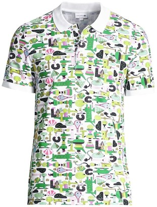 Lacoste Jeremyville Regular-Fit Short Sleeve Croc Graphic Printed Polo Shirt
