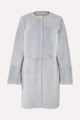 Yves Salomon Reversible Shearling Coat - Blue