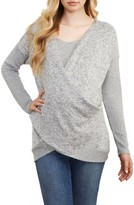 Maternal America Women's Faux Wrap Maternity/nursing Sweater