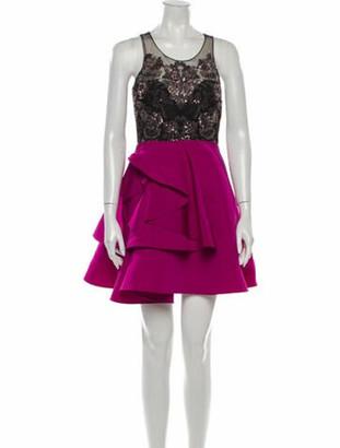 Marchesa Notte Lace Pattern Mini Dress Purple