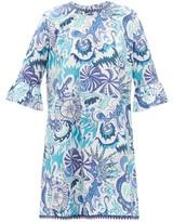 Le Sirenuse Le Sirenuse, Positano - Cappa Psycho-print Cotton Shift Dress - Womens - Blue Print