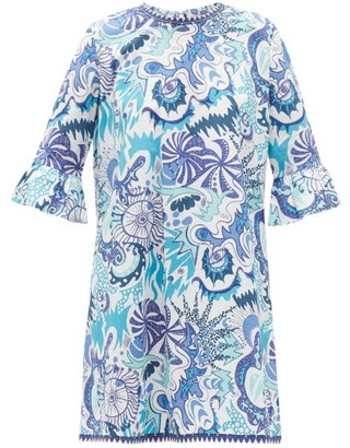 Le Sirenuse, Positano - Cappa Psycho-print Cotton Shift Dress - Blue Print
