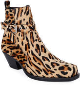 Versace Men's Leopard Calf Hair Ankle Boots