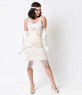 Unique Vintage Cream Beaded Vienna Mesh Fringe Flapper Dress