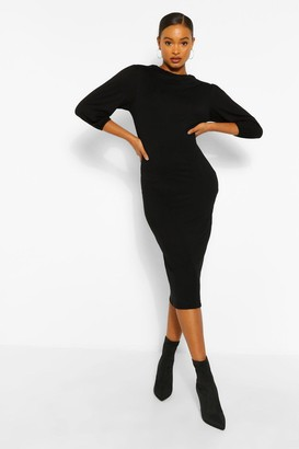 boohoo Cowl Neck Side Split Midi Dress