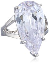 """Kenneth Jay Lane CZ by Special Occasion"""" Elongated Pear Cubic Zirconia Split Shank Ring, Size 7, 12 CTTW"""