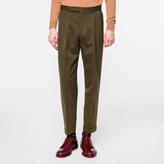 Paul Smith Men's Khaki Cotton-Linen Twill Tapered Trousers
